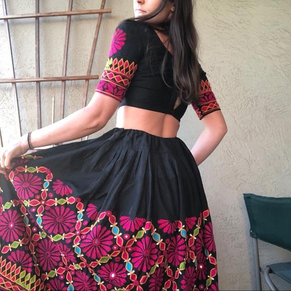 Embroidered Floral Skirt Fashion Wrap Skirt Mexican Floral Skirt Long Embroidered Wrap Skirt High Waist Skirt Traditional Mexican Skirt